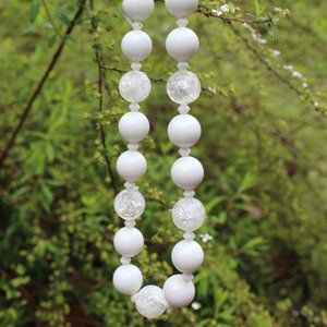 [5/$25] White Crystal Bead Statement Necklace